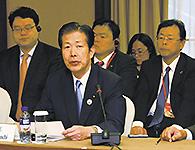 アジア政党国際会議でスピーチする山口代表=15日 北京市内(撮影・深沢淳)