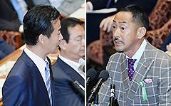 見解を述べる村田公述人と、質問する岡本氏=13日 衆院平和安全特委