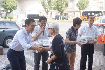 西日本豪雨被災地支援の募金活動を応援しました。