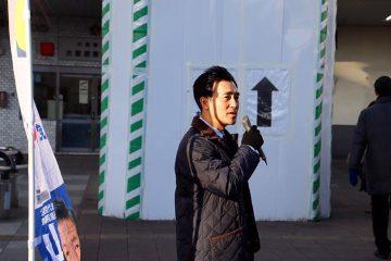 大宮駅にて、小森谷まさるさいたま市議とともに朝のご挨拶。