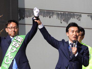 川越から埼玉県議選に初挑戦する「深谷けんじ」候補の街頭演説、応援に入りました!