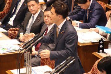 全閣僚出席の予算委員会にて質問(テレビ中継)